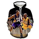 GEZIBABA 3D Kobe Bryant Los Hombres de Baloncesto de la NBA con Capucha Lakers Jersey Sudadera con Capucha Suelta Baloncesto Camiseta de la Blusa de los chándales-A_6XL