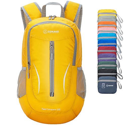 ZOMAKE Ultra Lightweight Packable Rucksack, 25L Klein Wasserfest Wandern Daypack Faltbarer Reiserucksack für Männer Frauen im Freien (Gelb)