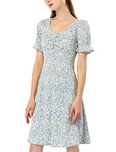 Allegra K Vestido Floral Margarita A-Línea Escote Corazón Manga De Soplo De Pradera para Mujer Azul XL