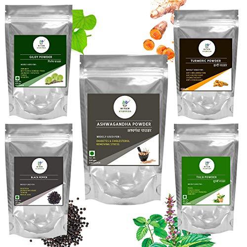 Nxtgen Ayurveda Immunity Booster Combo | Natural | Pure | Turmeric, Pepper, Ashwagandha, Tulsi, Giloy Powder