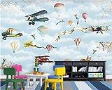 Yisj Papel Pintado Papel pintado de pintura decorativa retro Aviones globo de aire caliente fondo infantil fondo 3d,350x245cm(WxH)