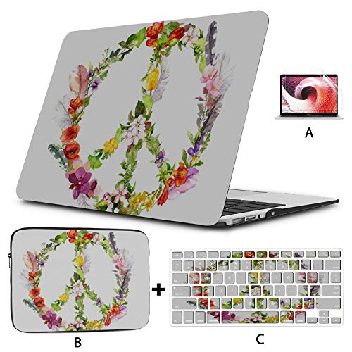 13 Macbook Case Colorful Peace Sign Happiness Macbook Air Accessories Hard Shell Mac Air 11'/13' Pro 13'/15'/16' With Notebook Sleeve Bag For Macbook 2008-2020 Version