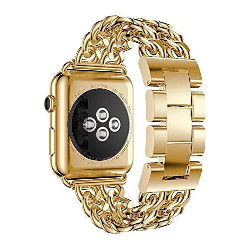 Correa de metal compatible con correas de Apple Watch 44 mm 42 mm 38 mm 40 mm, correa de muñeca con diamantes de imitación para mujeres y niñas para Apple Watch Series SE 6/5/4/3,Oro,42mm/44mm