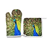 FHTDH Suministros de cocina, guantes de horno y juegos de ollas Animal Peacock Peafowl Oven Mitts Potholder Set for Kitchen Heat Resistant Non-Slip Heat Insulation Gloves Pot Holders Cooking Baking Gr