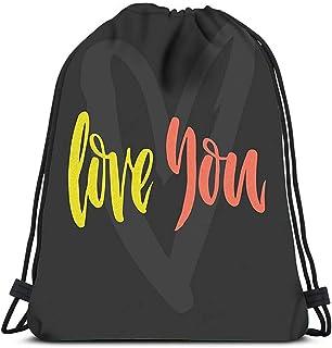Mochila con cordón Love You Unique Handdrawn Romantic Valentine Save The Date Elem Yoga Runner Daypack Mochila Bolsas