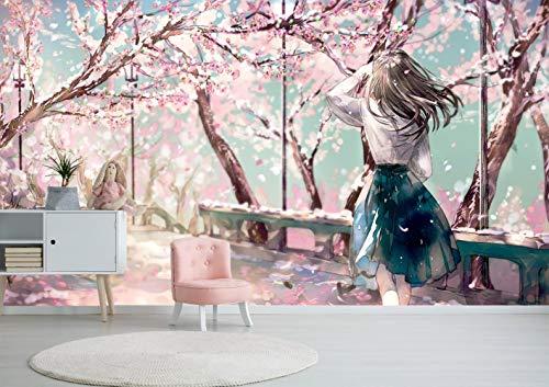 Pink Cherry Blossom Garden Girl Anime Fototapete Tapete 3D Photo Wallpaper Mural 350x256cm(137.8x100.79inch) WxH