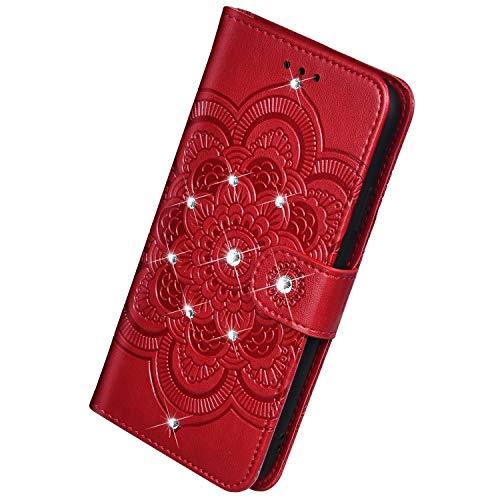 Herbests Kompatibel mit Samsung Galaxy A20S Handyhülle Handytasche Mandala Blumen Muster Leder Hülle Strass Diamant Bling Glitzer Glänzend Schutzhülle Flipcase Hülle Kartenfächer Magnet,Rot