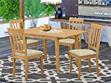 East West Furniture NOAN5-OAK-C 5-Piece Kitchen Dining Room Set – 4 Dining Room Chairs and Dining Room Table – Rectangular Table Top – Slatted Back and Linen Fabric Chair Seat (Oak Finish)