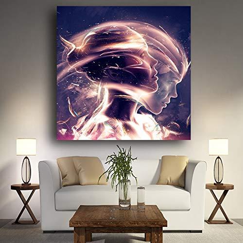 Kreative Mädchen Wasserporträt Poster und Drucke auf Heller Leinwand Nordisches Wohnzimmer Nordische Wandbilder 50x50cm