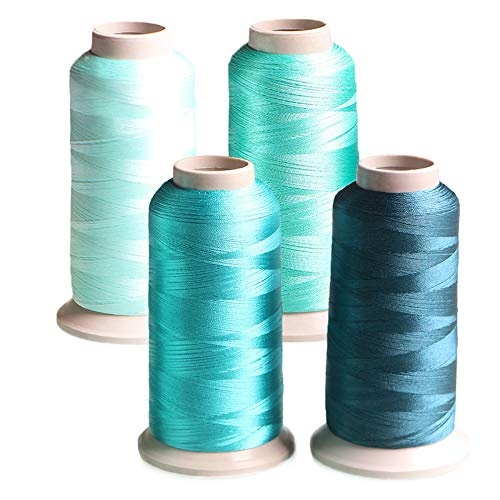 Set of 4 Embroidery Thread Light Cyan Turquoise Teal Polyester Huge Spool 3608 Yards (3300M) Each for Home Embroidery and Sewing Machines – ACRAFT