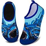 Kids Water Shoes Non-Slip Quick Dry Swim Barefoot Beach Aqua Pool Socks for Boys & Girls Toddler (Big Shark, 16/17)