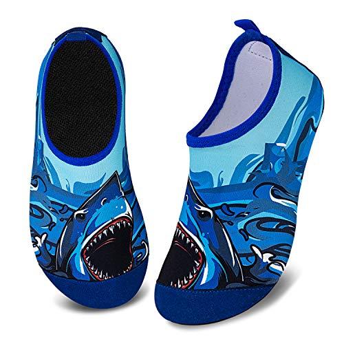 Kids Water Shoes Girls Boys Toddler Non-Slip Quick Dry Aqua Socks for Beach Swim Walking (Big Shark, 22/23)