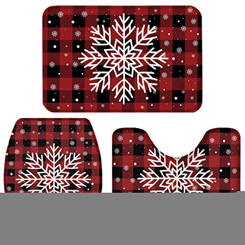 Fancyine 3 Pieces Bath Rugs Sets Red Christmas Buffalo Check Plaid Soft Non-Slip Absorbent Toilet Seat Cover U-Shaped Toilet Mat for Bathroom Decor Snowflakes