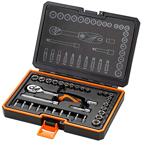 KENDO 35-Pieces 1/4'' Dr. Ratchet Socket Wrench Set - Professional CRV SAE & Metric Sockets +...