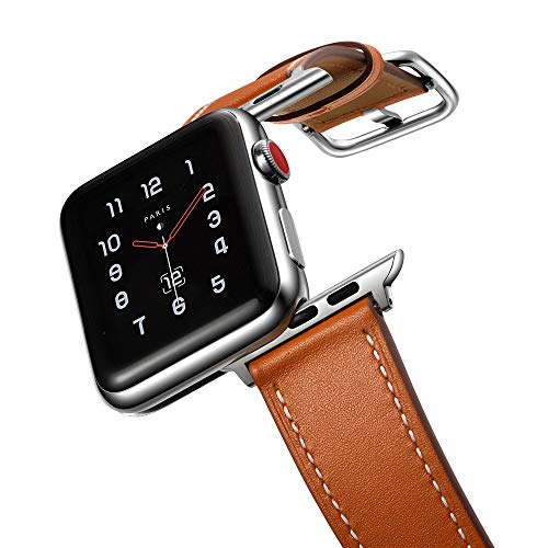 amBand Leather Band Compatible with Apple Watch 42mm 44mm, Genuine Leather Vintage Replacement Strap Classic Bands Buckle Compatible with iWatch Series 5/4/3/2/1 Brown
