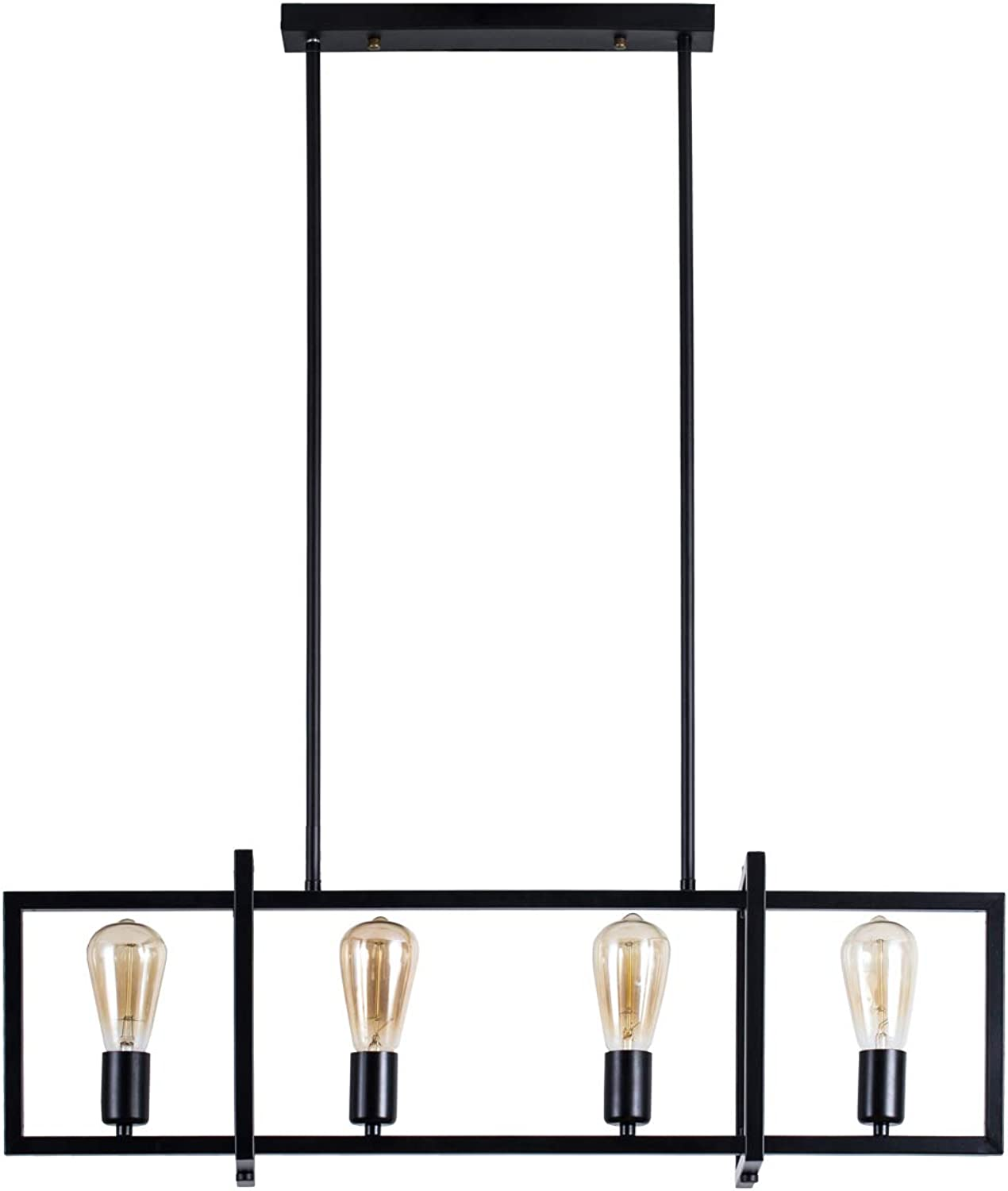 4-Light Kitchen Island Pendant with Matte Black Plated Finish, Geometric Modern Industrial Chandelier for Kitchen Island, Restaurants, Dining Room, Hotels, Foyer, Shops