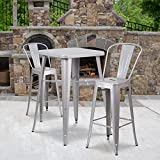 Flash Furniture Commercial Grade 23.75' Square Silver Metal Indoor-Outdoor Bar Table Set with 2 Stools with Backs
