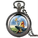 KUANDARGG Reloj de Bolsillo Retro, Reloj de Bolsillo, Reloj de Bolsillo de Moda, Reloj de Bolsillo con diseño de león de Dibujos Animados, Relojes de Bolsillo para niño, Regalo Creativo, Black