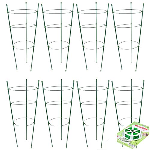 WWmily 45cm Garden Plant Support Tomato Cage Plant Trellis Kits Fixed and Stable Plant Cages Trellis Support for Climbing Plants with Garden Tether of 20 m/787 inch (8)