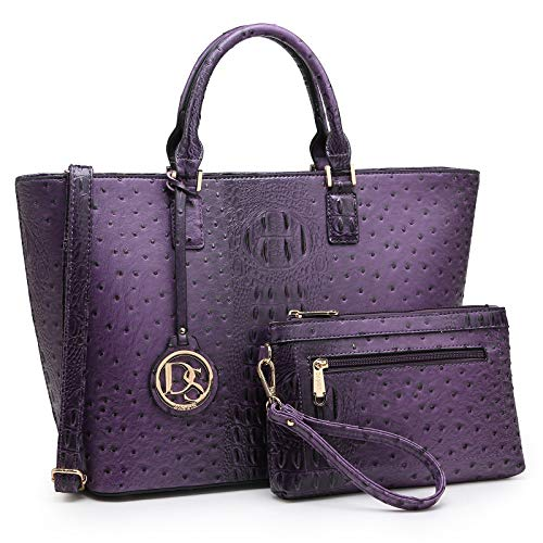 DASEIN Women's Handbags Purses Large Tote Shoulder Bag Top Handle Satchel Bag for Work (6-Ostrich Purple)