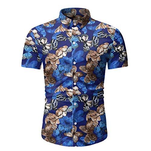 Funky Hawaiihemd Herren Hemd Schmetterlings-Druck Kurzarm Hawaii T Shirts Modische Karneval Party Strand Top Hemden Knopf Sommer Kurzarmhemd Oberteil Hawaiishirt Urlaub Oberteile Freizeithemd