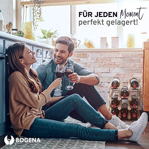 BOGENA® aus Holz - im einzigartigen Design - in 3 Varianten erhältlich - stabil, langlebig & modern - Elegantes Flaschenregal für Ihre heimische Weinsammlung (12 Flaschen) - 3
