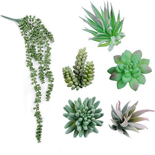 Homcomodar 6Pc Mini Künstliche Sukkulenten Pflanzen Unfotted Faux Sukkulenten Künstliche Pflanzen Dekorative Blumen für Hauptdekoration Tischdeko