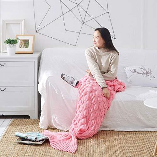 LPZ Mermaid Tail Blanket Adults, Handmade Knitting Pattern Mermaid Fishtail Blankets Soft Knitted Mermaid Tail Sleeping Bag for Women 195 X 90 cm (Color : G, Size : 195x90cm)