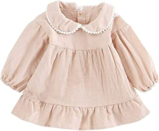 Mornyray Toddler Girls Long Sleeve Skirt Simple Wild Style Autumn and Spring Girls Pleated Dress Woven Cute Tassel Doll Co...