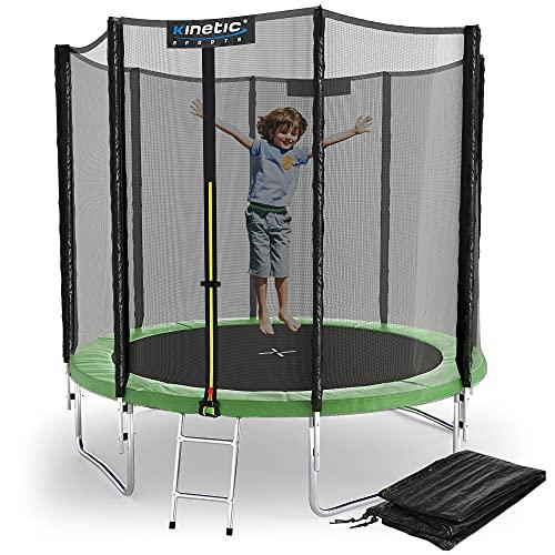 Kinetic Sports Outdoor Gartentrampolin Ø 244, TPLS08, inklusive Sprungtuch aus USA PP-Mesh +Sicherheitsnetz +Rand- u. Regen-Abdeckung +Leiter, bis 120kg, GS-geprüft,UV-beständig, GRÜN