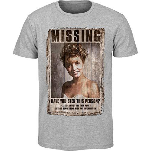 Hommes Twin Peaks Laura Palmer Délavé MANQUANT Affiche T Shirt (S-2XL) - Gris, Large