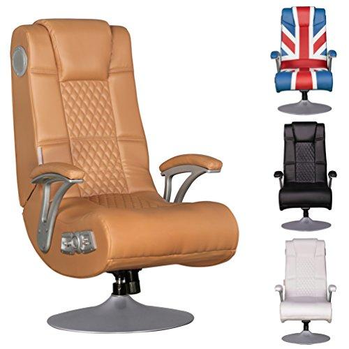 Wohnling Soundchair Specter Gaming Chair Caramel Soundsessel Multimediasessel Musik Rocker mit eingebautem Soundsystem Sessel mit Lautsprecher & Subwoofer Music mit Armlehnen und Standfuß