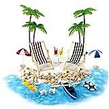 sevenjuly Casa de muñecas en Miniatura Accesorios Beach Decoración del Paisaje de la Playa Micro con tumbonas Parasoles de la Palmera para el Verano 18PCS, Regalos para niños