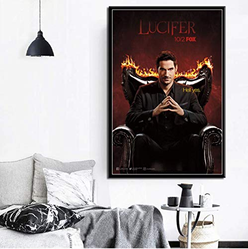 panggedeshoop Serie De TV Show Lucifer Temporada De Carteles E Impresiones Óleo Lienzo Cancas para Pintar Arte De La Pared Imágenes Sala De Estar Decoración del Hogar 50X70 Cm