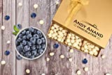 Andy Anand Premium Blueberry coated with Belgian White Chocolate Gift Boxed All-Natural Gourmet Christmas Holiday Corporate Food Gifts with Greeting Card, Birthday Anniversary Get-Well 1lbs