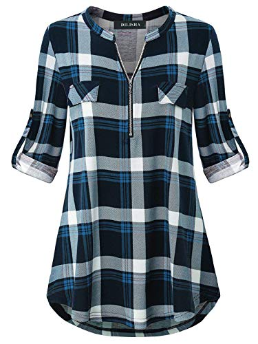 Notch Neck Shirt for Women, Ladies Retro Style Career Clothes Comfy Henley Mandarin Collared 3/4 Cuffed Long Sleeve Plaid Top to Wear with Leggings Maternity Checkered Blouses at Home Blue XXL