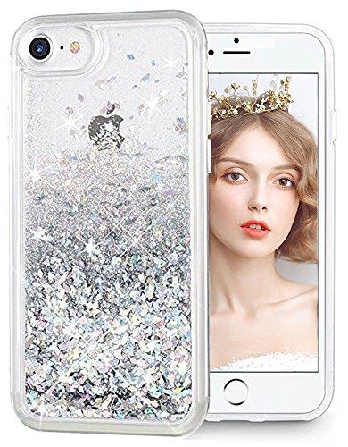 wlooo Coque pour iPhone Se 2020, iPhone 6/6s/7/8 Coque, iPhone 8 Silicone Coque, Glitter Liquide Paillette TPU Bumper Filles Femmes Housse Étincelle Antichoc Souple Brillante Étui (Argent)