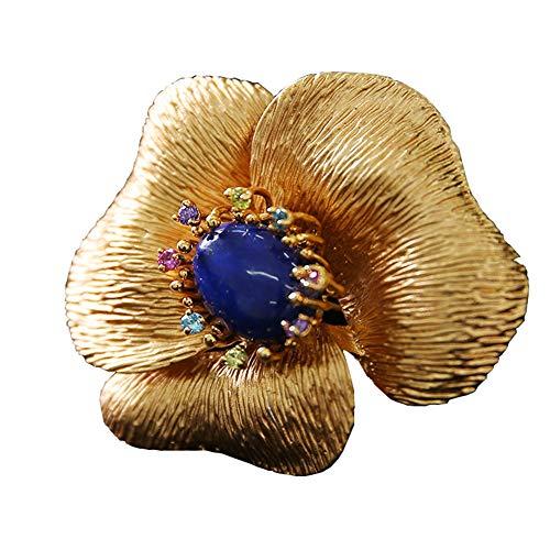 J.Memi's Mujer Broche Lapislázuli Pin Forma De Flor De Amatista Hecha A Mano Joyas Insignia Prendedores Clip Dia De San Valentin Regalo,Oro