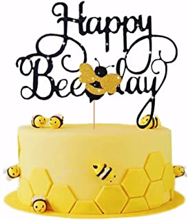 LaVenty Happy Bee Day Cake Topper Bumble Bee Cake Topper Bumble Bee Themed Party Happy Supplies Bumble Bee Decoration