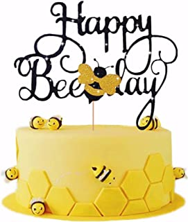 LaVenty Bumble Bee Cake Topper Happy Bee Day Cake Topper Bee Cake Topper for Bumble Bee Themed Happy Birthday Party Supplies Decorations