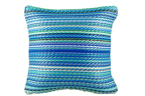 FAB HAB - Oreiller décoratif, intérieur/extérieur - Plastique recyclé - Cancun - Turquoise & Moss Green (42 cm x 42 cm)
