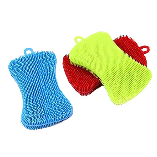 Silicone Sponge Dish Sponges - Multi-Use Food Grade Reusable Double Sided Silicone Brush Sponges for Dishes, Cleaning Sponges for Kitchen Scrubber, Dish Washing, Cleaning, Shower Fruit and Vegetable