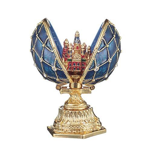 huevo ruso de Estilo Faberge con Iglesia del Salvador sobre la sangre San Petersburgo 6,5 cm azul