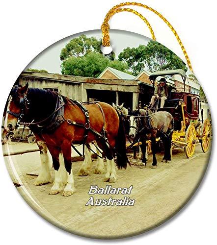Adornos de ballarat de Colina soberana de Australia,Adorno de Vacaciones Redondo de cerámica de 2,8 Pulgadas para Amigos de la Familia