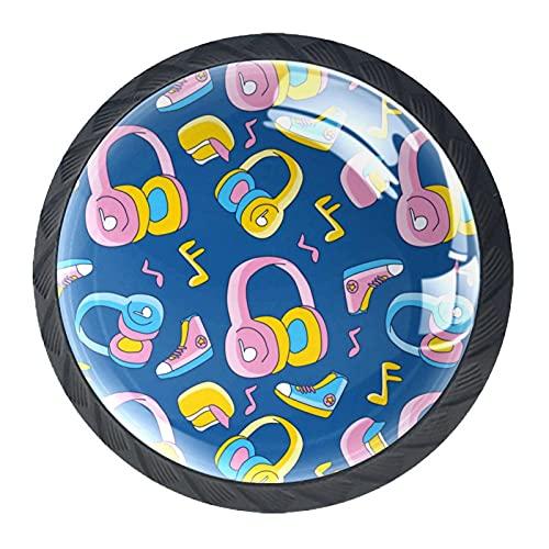 Linda dibujos animados Funky Head teléfono música zapatos gabinete de cristal manijas 4 piezas 35mm cajón asas para gabinete de cocina tocador gabinete armario armario