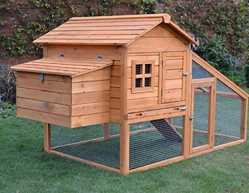 FeelGoodUK CHICKEN COOP HEN HOUSE POULTRY ARK HOME NEST RUN COUP WITH INTEGRATED RUN & CLEANING TRAY & INNOVATIVE LOCKING MECHANISM - NCH10 L GOLDEN