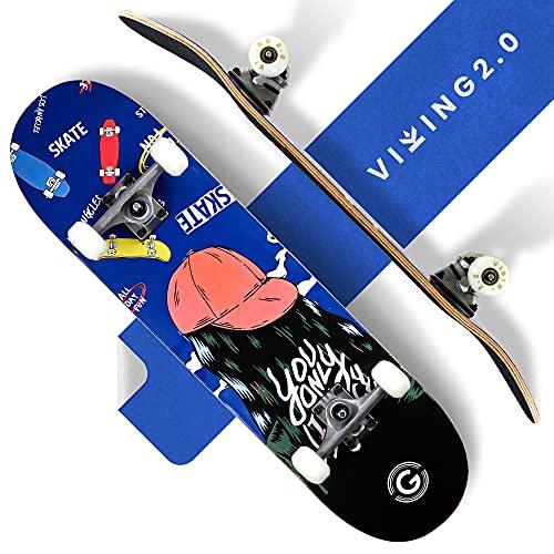 VIKING2.0® Skateboard für Kinder & Erwachsene | Skateboard mit ABEC 11 Kugellager & Zubehör | Mit Unisex Design für Mädchen & Jungen | ideal für Anfänger & Profi-Boarder