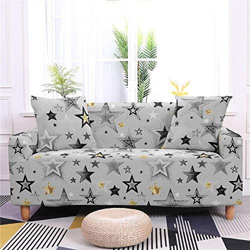 Estiramiento Funda de sofá 2 Plazas 1 Pieza Antideslizante Fundas Impresa para Sofas Sofás Cubre Sofá Ajustable Protector de Muebles 2 Fundas de Almohada Estrella Blanca Cinco Puntas