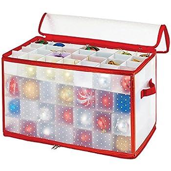 Simplify Ornament Storage Box/Plastic - Decorative Organizer - Storage Bin - Red - 112 Counts - L12 x W12 x H12