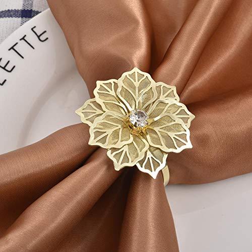 12 Stück Serviettenringe Set Metal Aushöhlen Rose Blume Morderne Serviettenhalter für Hochzeit Geburtstag Weihnachten Taufe Tisch Dekoration/Golden